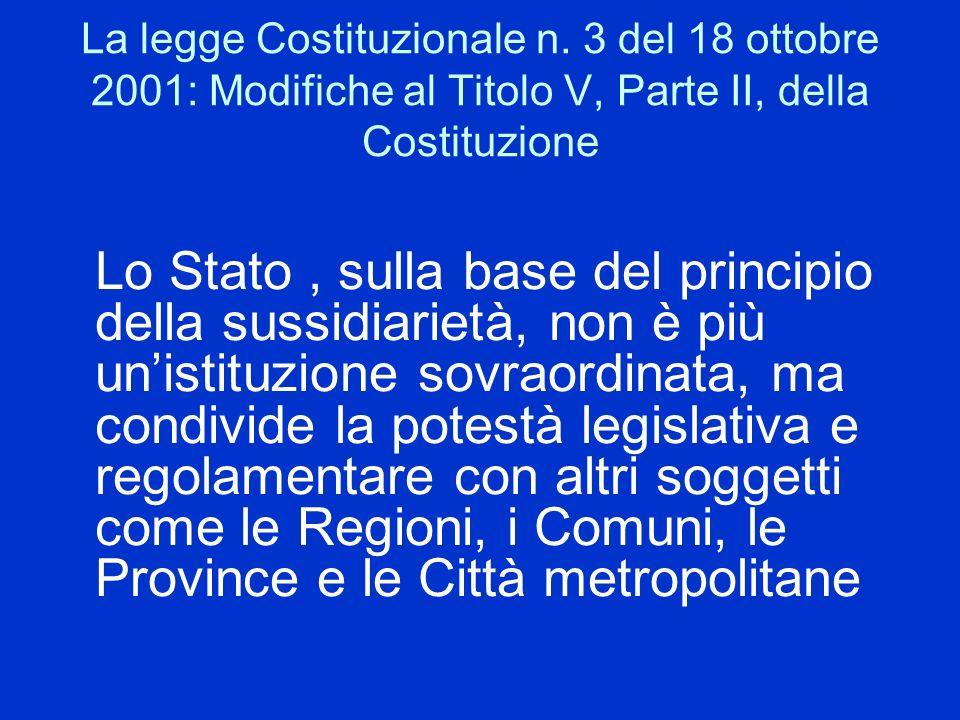 La legge Costituzionale n. 3 del 18 ottobre 2001: Modifiche al Titolo V, Parte II, della Costituzione Lo Stato, sulla base del principio della sussidi