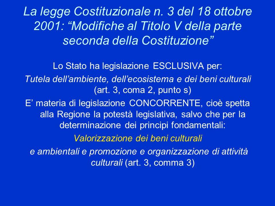 La legge Costituzionale n. 3 del 18 ottobre 2001: Modifiche al Titolo V della parte seconda della Costituzione Lo Stato ha legislazione ESCLUSIVA per:
