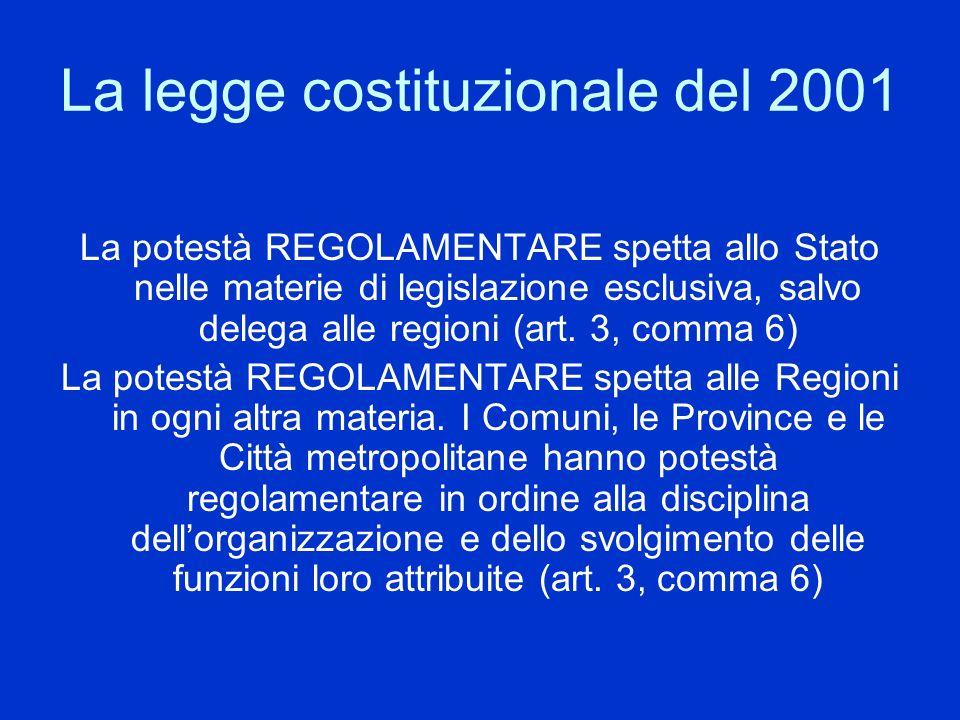 La legge costituzionale del 2001 La potestà REGOLAMENTARE spetta allo Stato nelle materie di legislazione esclusiva, salvo delega alle regioni (art. 3