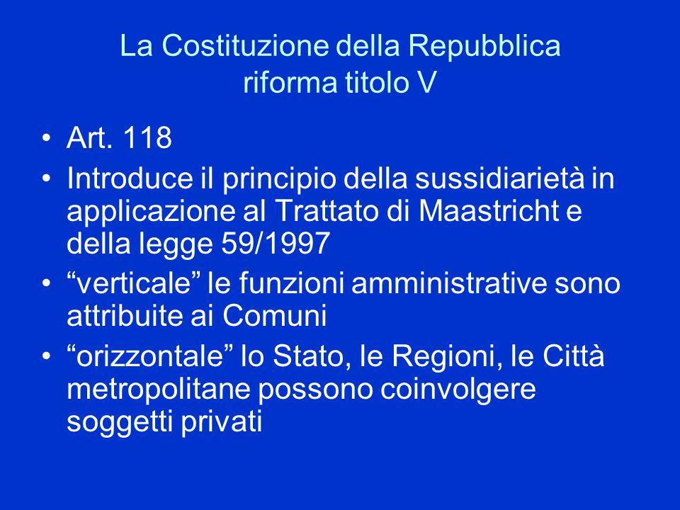 La Costituzione della Repubblica riforma titolo V Art. 118 Introduce il principio della sussidiarietà in applicazione al Trattato di Maastricht e dell
