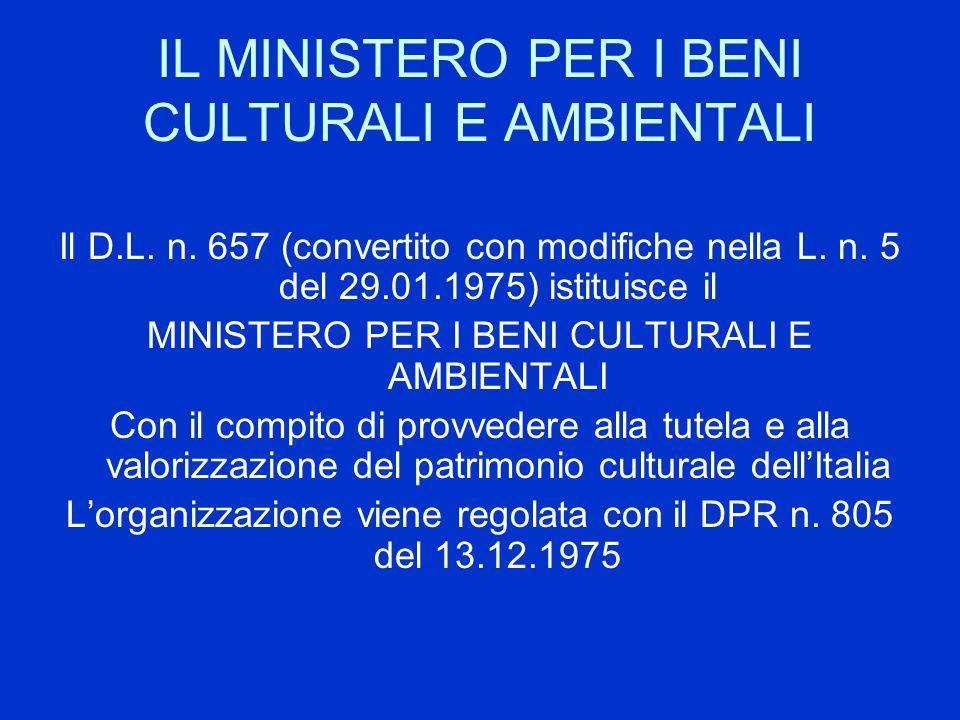 IL MINISTERO PER I BENI CULTURALI E AMBIENTALI Il D.L. n. 657 (convertito con modifiche nella L. n. 5 del 29.01.1975) istituisce il MINISTERO PER I BE