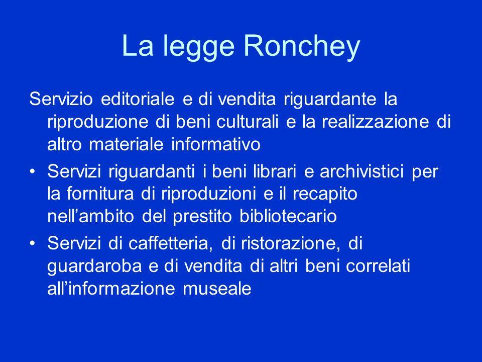 La legge Ronchey Servizio editoriale e di vendita riguardante la riproduzione di beni culturali e la realizzazione di altro materiale informativo Serv