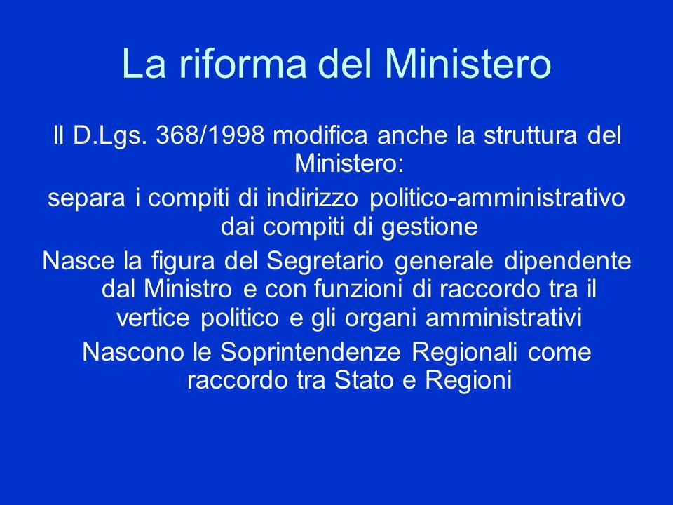 La riforma del Ministero Il D.Lgs. 368/1998 modifica anche la struttura del Ministero: separa i compiti di indirizzo politico-amministrativo dai compi