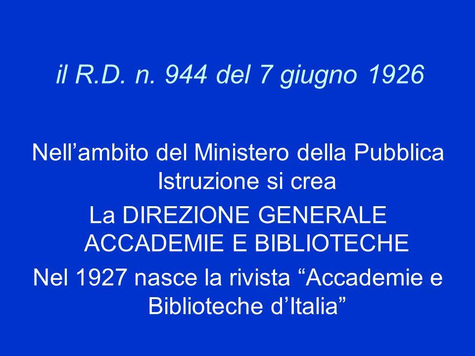 il R.D. n. 944 del 7 giugno 1926 Nellambito del Ministero della Pubblica Istruzione si crea La DIREZIONE GENERALE ACCADEMIE E BIBLIOTECHE Nel 1927 nas