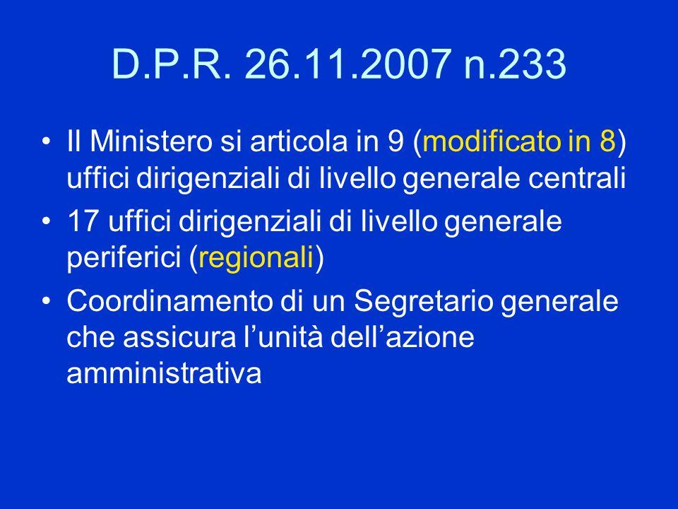 D.P.R. 26.11.2007 n.233 Il Ministero si articola in 9 (modificato in 8) uffici dirigenziali di livello generale centrali 17 uffici dirigenziali di liv