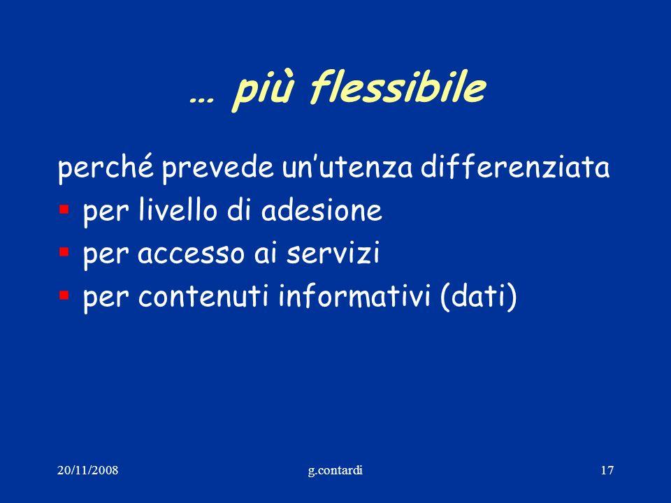 20/11/2008g.contardi17 … più flessibile perché prevede unutenza differenziata per livello di adesione per accesso ai servizi per contenuti informativi
