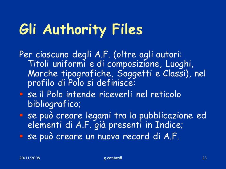 20/11/2008g.contardi23 Gli Authority Files Per ciascuno degli A.F. (oltre agli autori: Titoli uniformi e di composizione, Luoghi, Marche tipografiche,