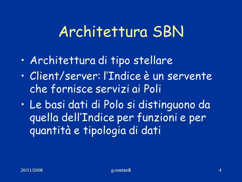 20/11/2008g.contardi4 Architettura SBN Architettura di tipo stellare Client/server: lIndice è un servente che fornisce servizi ai Poli Le basi dati di
