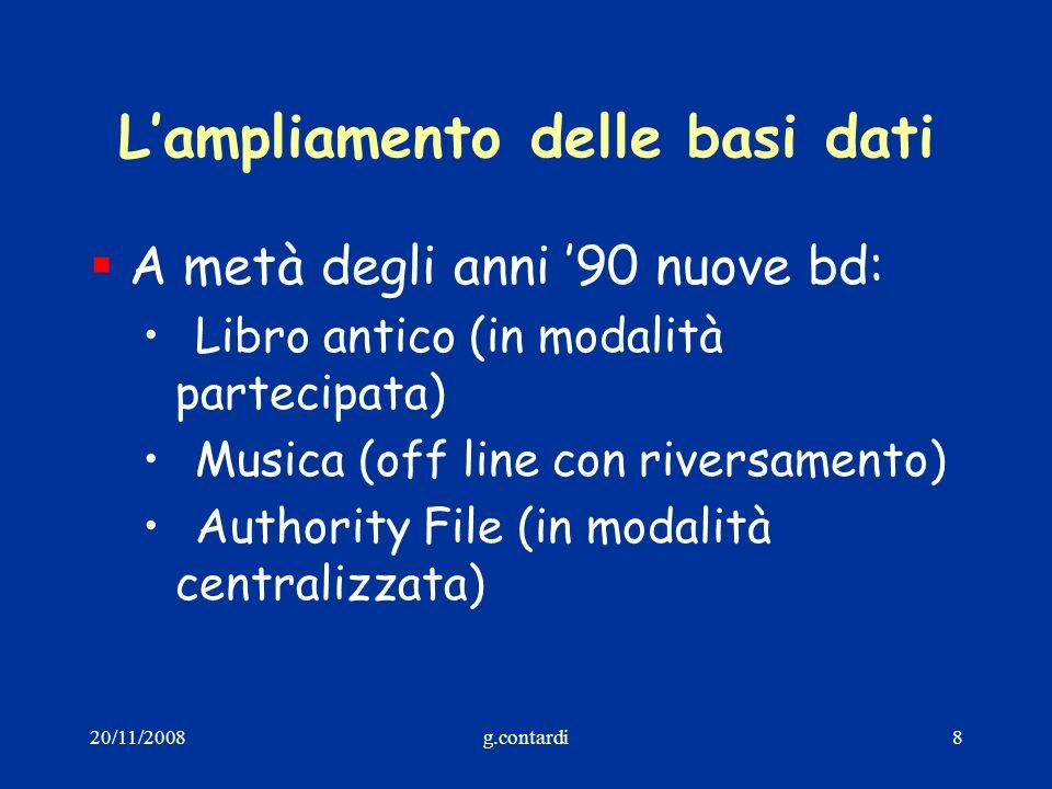 20/11/2008g.contardi19 Le azioni(1) Le azioni corrispondono ai servizi dellIndice che il Polo può utilizzare: Cerca Localizza/Delocalizza Crea Modifica (Varia, Fondi, Cancella) Allinea