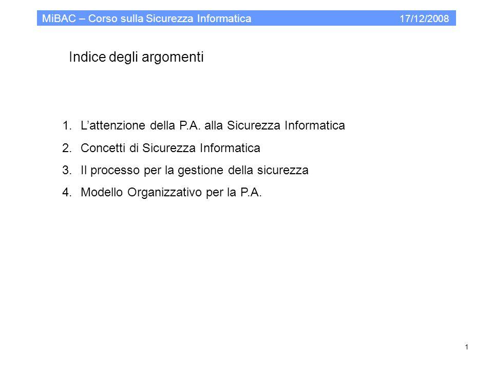 Indice degli argomenti MiBAC – Corso sulla Sicurezza Informatica 17/12/2008 1.Lattenzione della P.A. alla Sicurezza Informatica 2.Concetti di Sicurezz