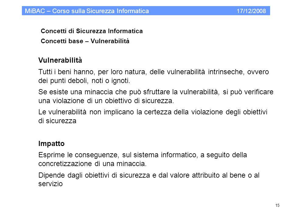 Concetti di Sicurezza Informatica Concetti base – Vulnerabilità MiBAC – Corso sulla Sicurezza Informatica 17/12/2008 15 Vulnerabilità Tutti i beni han