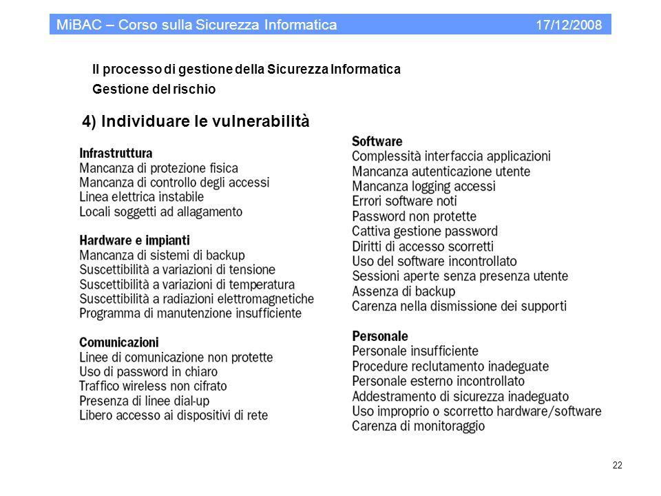 Il processo di gestione della Sicurezza Informatica Gestione del rischio MiBAC – Corso sulla Sicurezza Informatica 17/12/2008 22 4) Individuare le vul