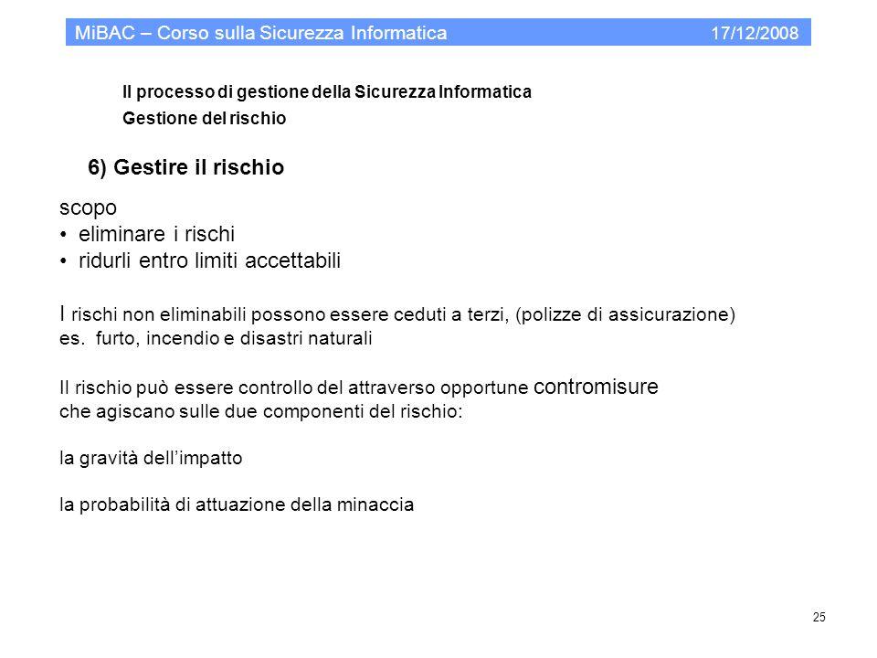 Il processo di gestione della Sicurezza Informatica Gestione del rischio MiBAC – Corso sulla Sicurezza Informatica 17/12/2008 25 6) Gestire il rischio