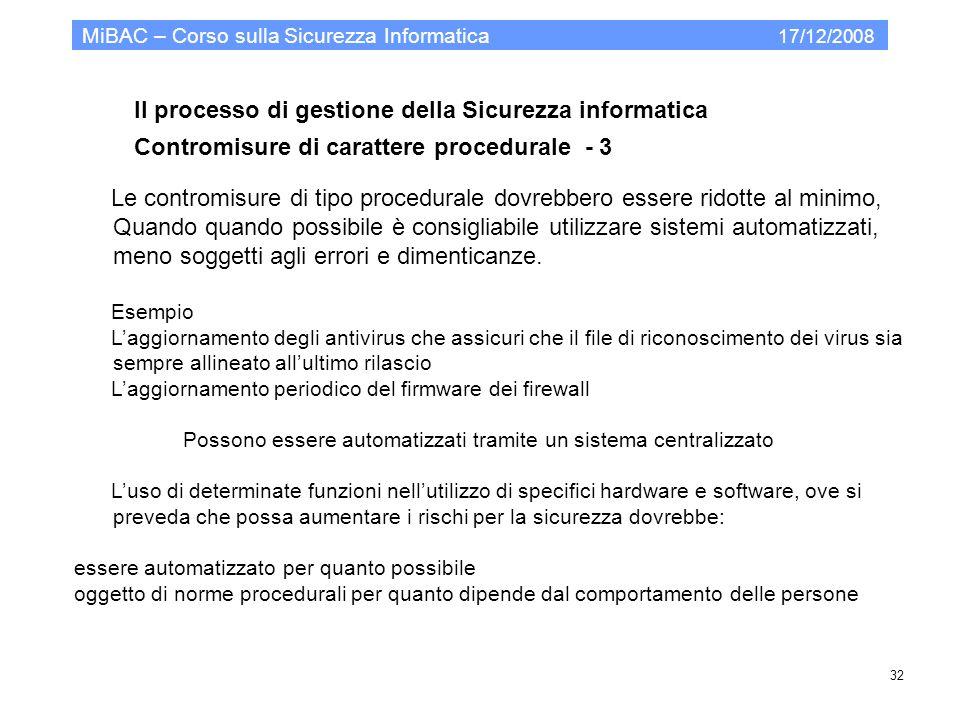 Il processo di gestione della Sicurezza informatica Contromisure di carattere procedurale - 3 MiBAC – Corso sulla Sicurezza Informatica 17/12/2008 32