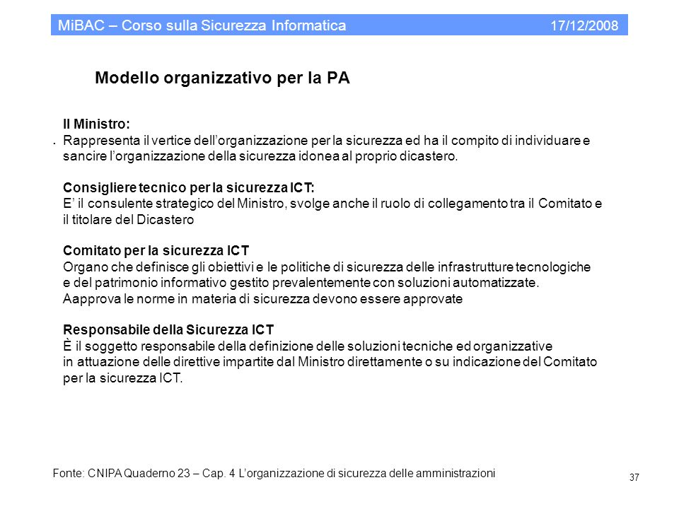 Modello organizzativo per la PA MiBAC – Corso sulla Sicurezza Informatica 17/12/2008 37. Il Ministro: Rappresenta il vertice dellorganizzazione per la