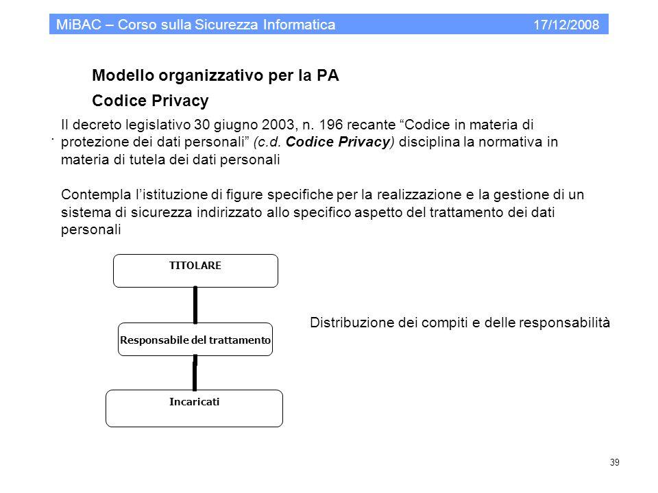 Modello organizzativo per la PA Codice Privacy MiBAC – Corso sulla Sicurezza Informatica 17/12/2008 39. Il decreto legislativo 30 giugno 2003, n. 196