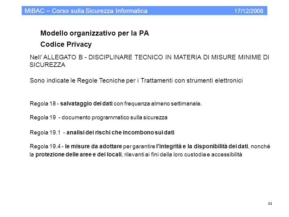 Modello organizzativo per la PA Codice Privacy MiBAC – Corso sulla Sicurezza Informatica 17/12/2008 44 Nell ALLEGATO B - DISCIPLINARE TECNICO IN MATER