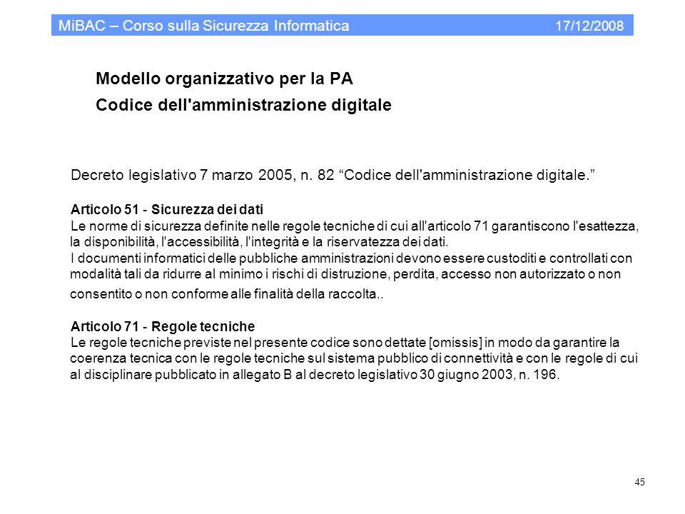Modello organizzativo per la PA Codice dell'amministrazione digitale MiBAC – Corso sulla Sicurezza Informatica 17/12/2008 45 Decreto legislativo 7 mar