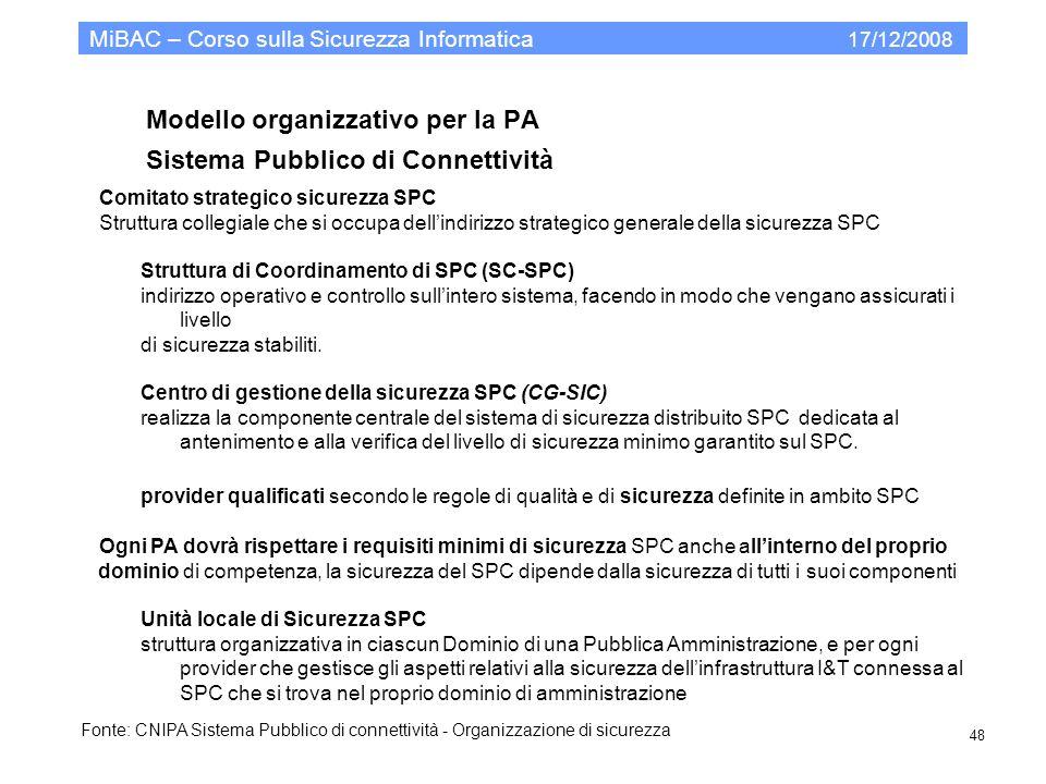 Modello organizzativo per la PA Sistema Pubblico di Connettività MiBAC – Corso sulla Sicurezza Informatica 17/12/2008 48 Comitato strategico sicurezza