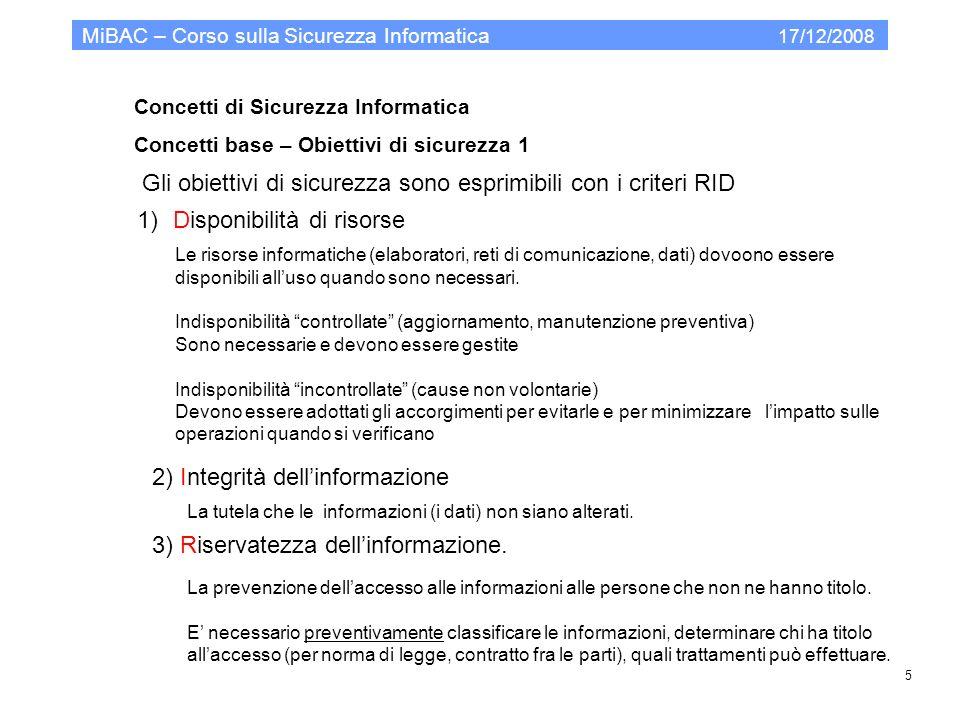 Modello organizzativo per la PA Gli standard MiBAC – Corso sulla Sicurezza Informatica 17/12/2008 36.