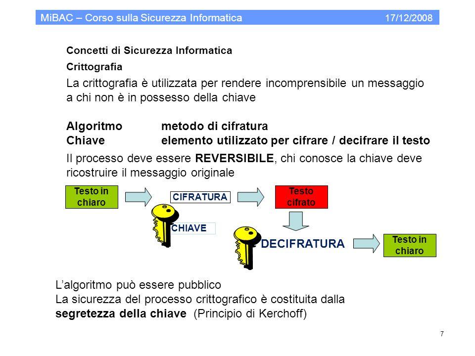 Modello organizzativo per la PA MiBAC – Corso sulla Sicurezza Informatica 17/12/2008 38.