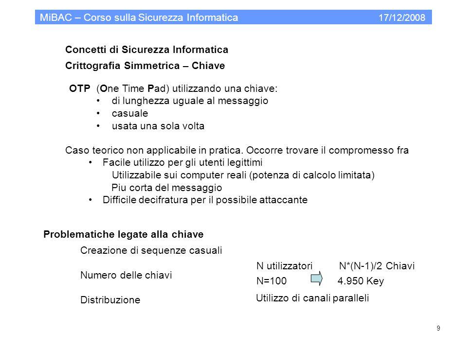 Modello organizzativo per la PA Codice Privacy MiBAC – Corso sulla Sicurezza Informatica 17/12/2008 40.