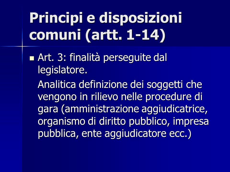 Principi e disposizioni comuni (artt. 1-14) Art. 3: finalità perseguite dal legislatore. Art. 3: finalità perseguite dal legislatore. Analitica defini