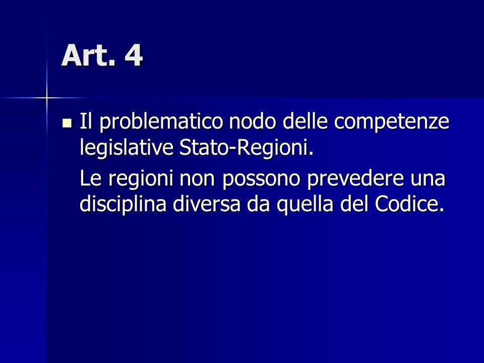 Art. 4 Il problematico nodo delle competenze legislative Stato-Regioni. Il problematico nodo delle competenze legislative Stato-Regioni. Le regioni no