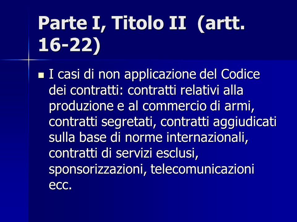 Parte I, Titolo II (artt. 16-22) I casi di non applicazione del Codice dei contratti: contratti relativi alla produzione e al commercio di armi, contr