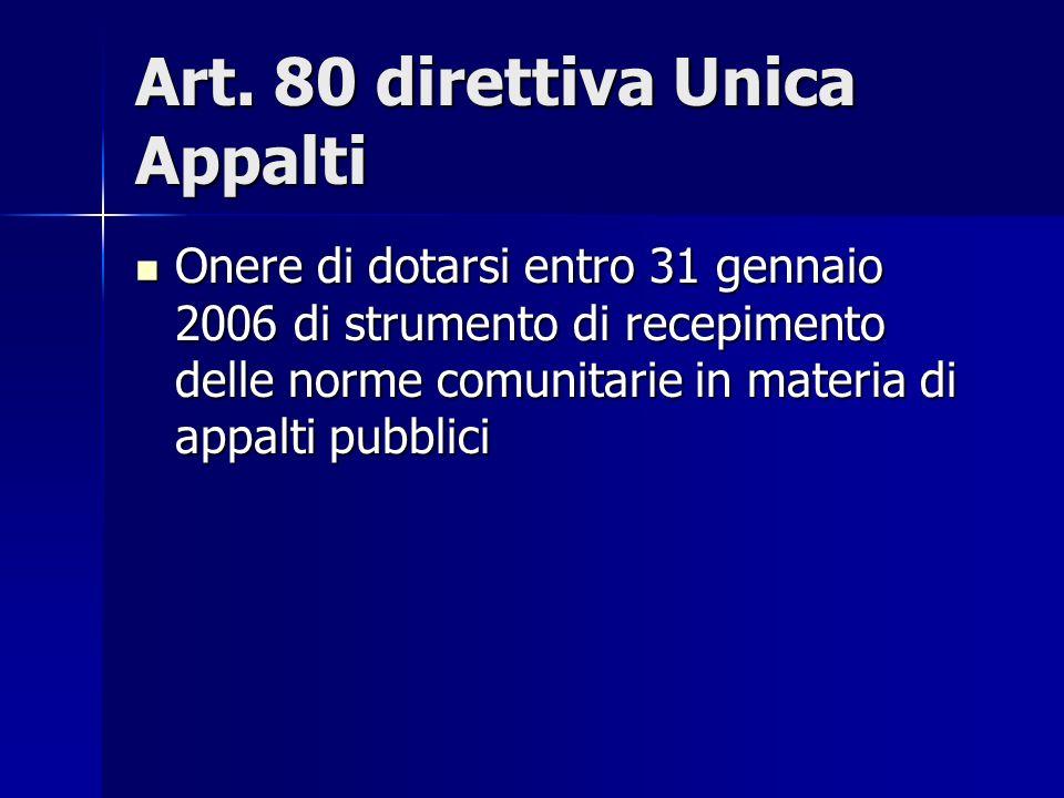 Art. 80 direttiva Unica Appalti Onere di dotarsi entro 31 gennaio 2006 di strumento di recepimento delle norme comunitarie in materia di appalti pubbl