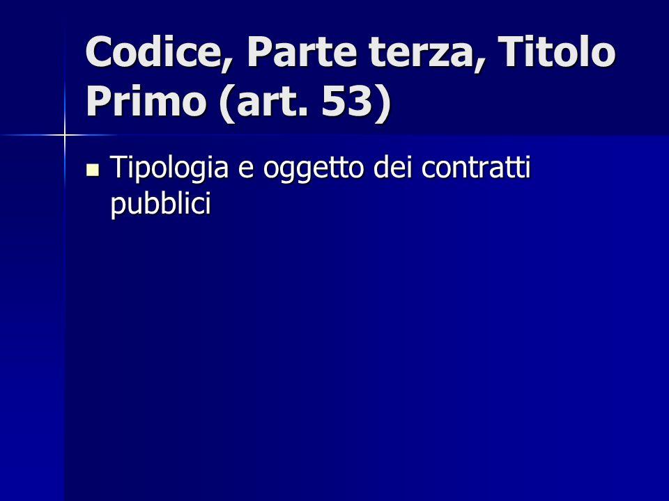 Codice, Parte terza, Titolo Primo (art. 53) Tipologia e oggetto dei contratti pubblici Tipologia e oggetto dei contratti pubblici