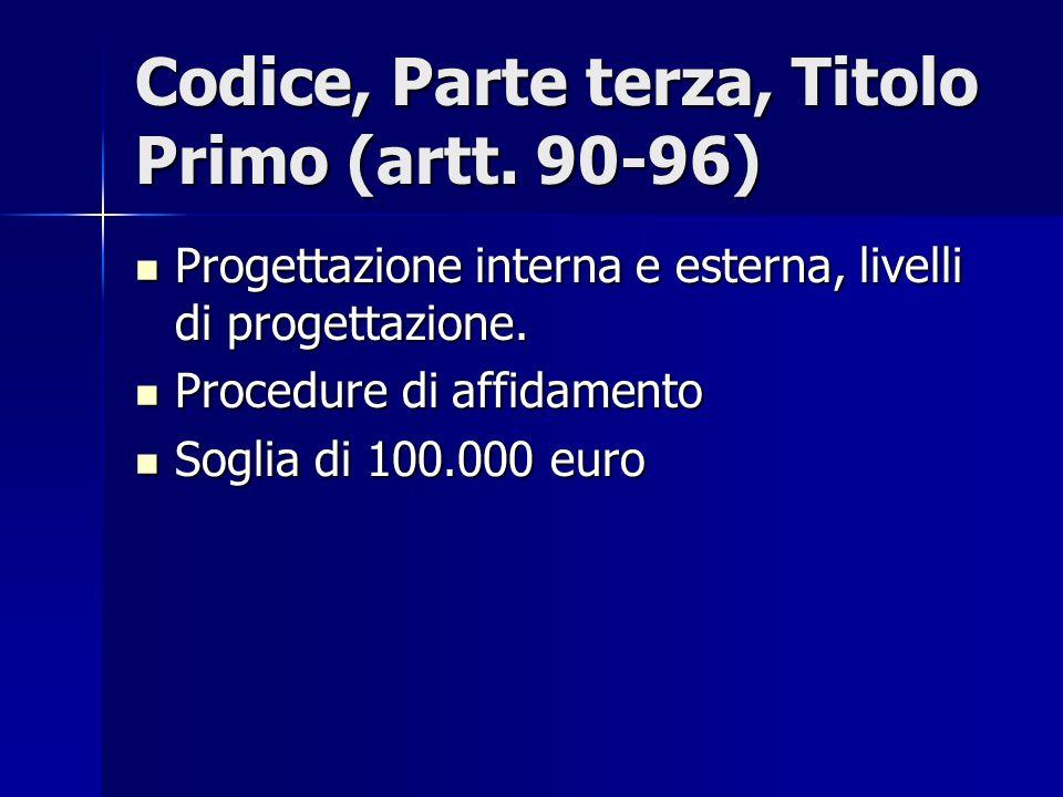 Codice, Parte terza, Titolo Primo (artt. 90-96) Progettazione interna e esterna, livelli di progettazione. Progettazione interna e esterna, livelli di