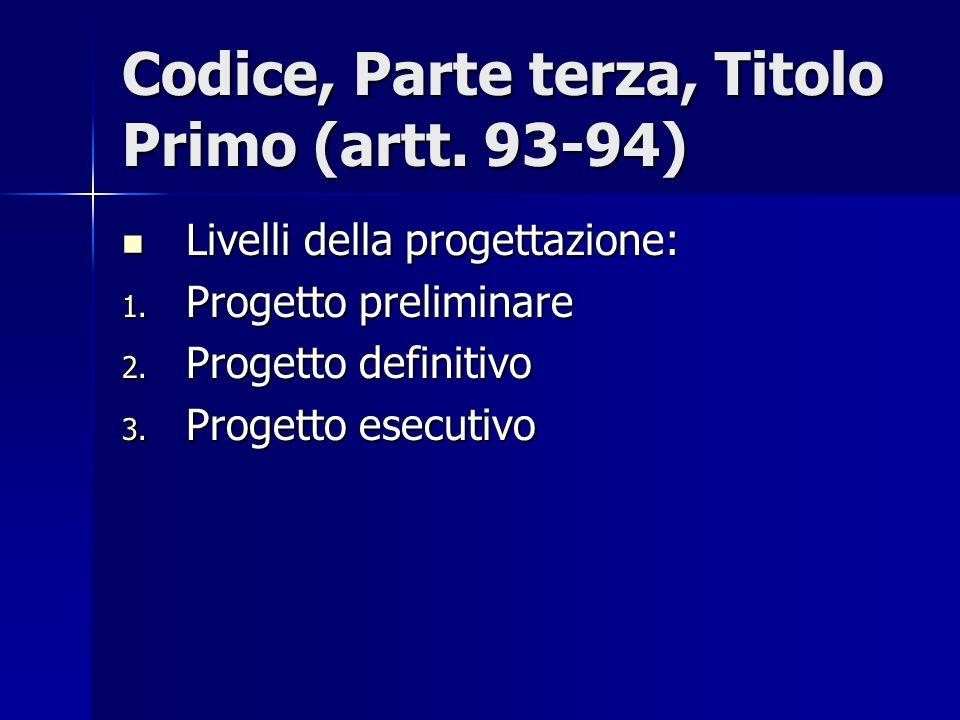 Codice, Parte terza, Titolo Primo (artt. 93-94) Livelli della progettazione: Livelli della progettazione: 1. Progetto preliminare 2. Progetto definiti