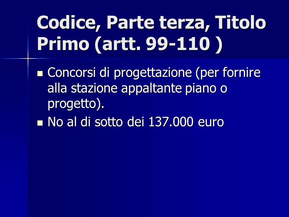 Codice, Parte terza, Titolo Primo (artt. 99-110 ) Concorsi di progettazione (per fornire alla stazione appaltante piano o progetto). Concorsi di proge