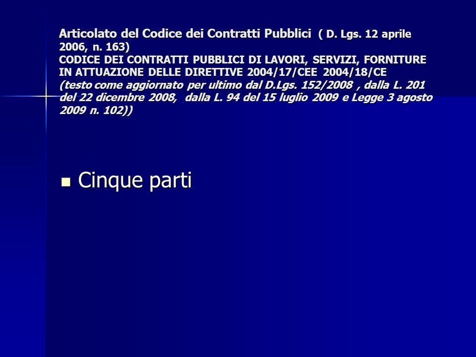 Articolato del Codice dei Contratti Pubblici ( D. Lgs. 12 aprile 2006, n. 163) CODICE DEI CONTRATTI PUBBLICI DI LAVORI, SERVIZI, FORNITURE IN ATTUAZIO