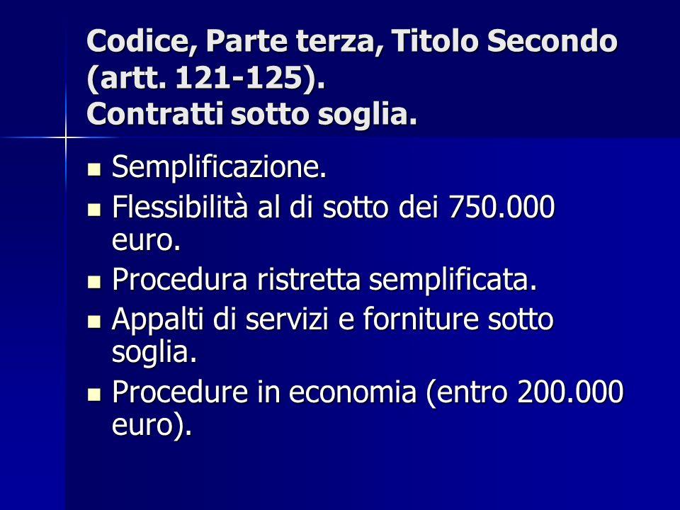 Codice, Parte terza, Titolo Secondo (artt. 121-125). Contratti sotto soglia. Semplificazione. Semplificazione. Flessibilità al di sotto dei 750.000 eu