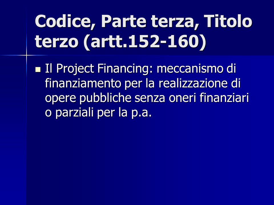 Codice, Parte terza, Titolo terzo (artt.152-160) Il Project Financing: meccanismo di finanziamento per la realizzazione di opere pubbliche senza oneri