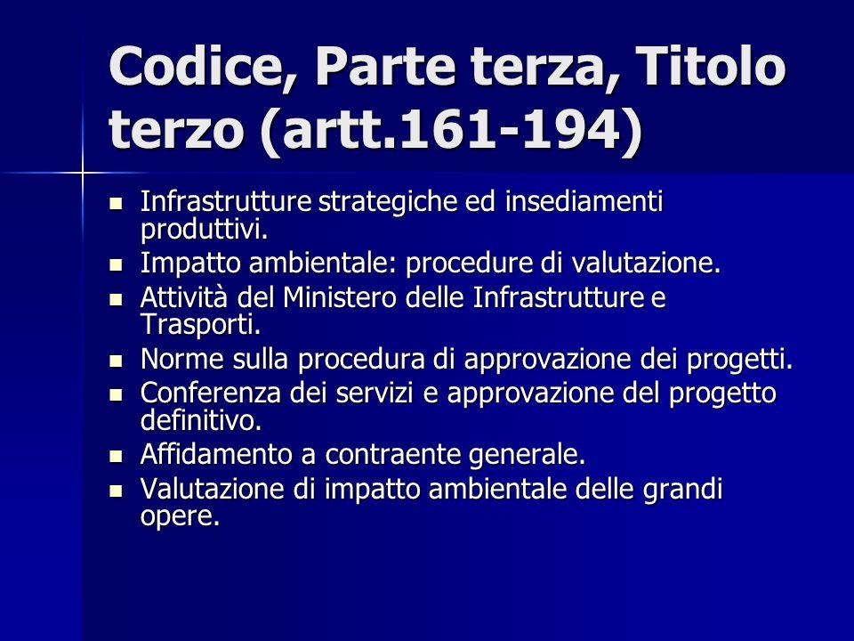 Codice, Parte terza, Titolo terzo (artt.161-194) Infrastrutture strategiche ed insediamenti produttivi. Infrastrutture strategiche ed insediamenti pro