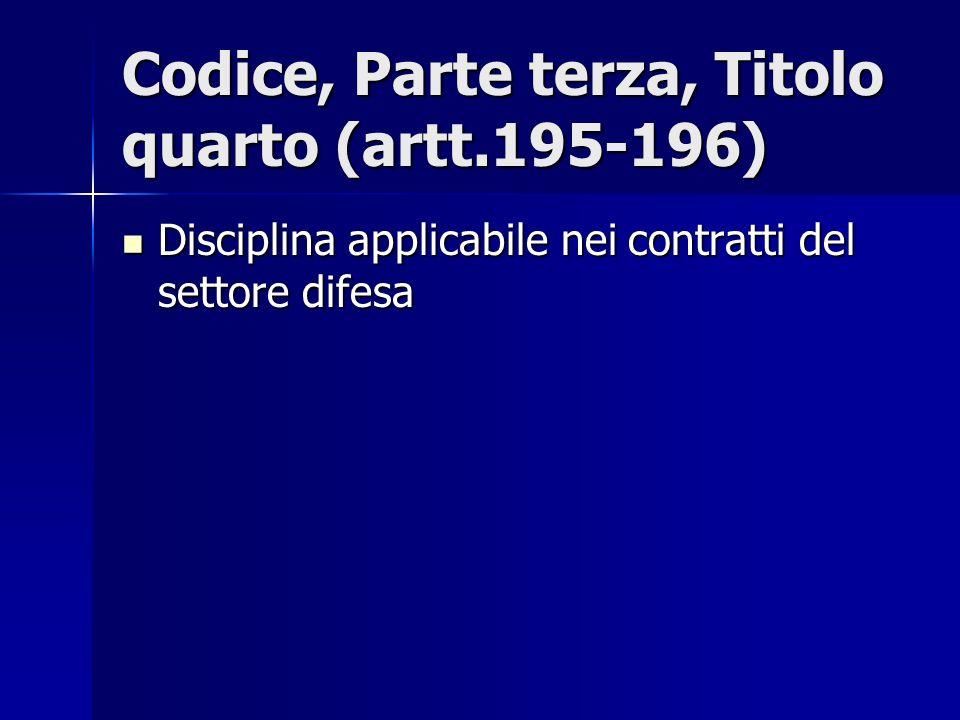 Codice, Parte terza, Titolo quarto (artt.195-196) Disciplina applicabile nei contratti del settore difesa Disciplina applicabile nei contratti del set