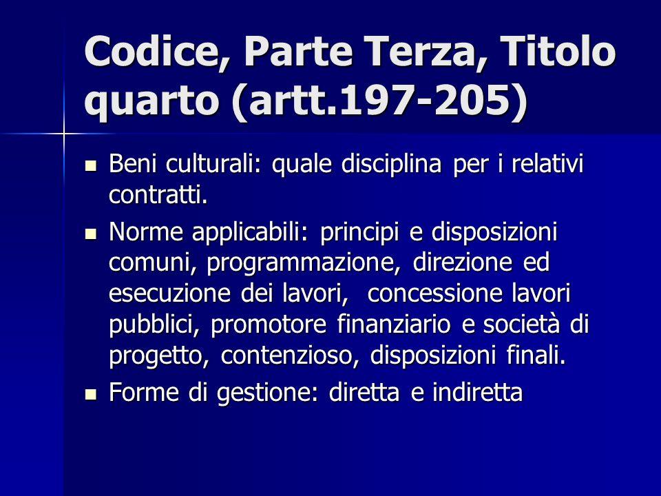 Codice, Parte Terza, Titolo quarto (artt.197-205) Beni culturali: quale disciplina per i relativi contratti. Beni culturali: quale disciplina per i re