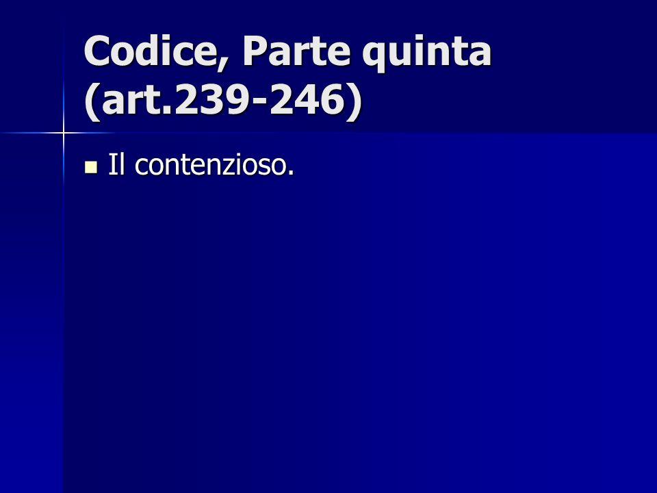 Codice, Parte quinta (art.239-246) Il contenzioso. Il contenzioso.