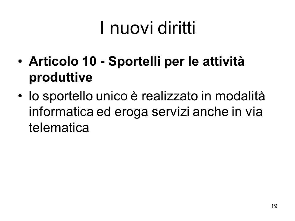 19 I nuovi diritti Articolo 10 - Sportelli per le attività produttive lo sportello unico è realizzato in modalità informatica ed eroga servizi anche i