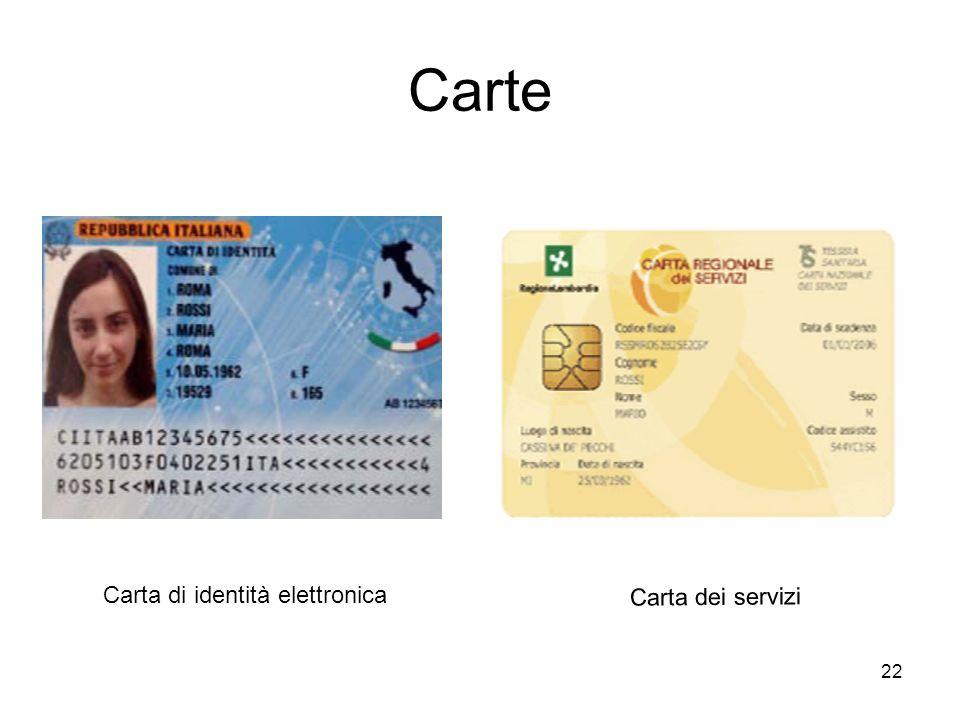 22 Carte Carta di identità elettronica Carta dei servizi