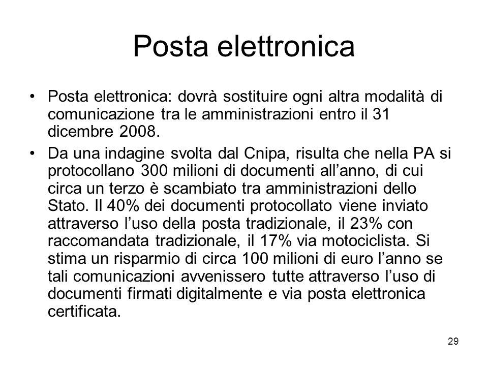 29 Posta elettronica Posta elettronica: dovrà sostituire ogni altra modalità di comunicazione tra le amministrazioni entro il 31 dicembre 2008. Da una