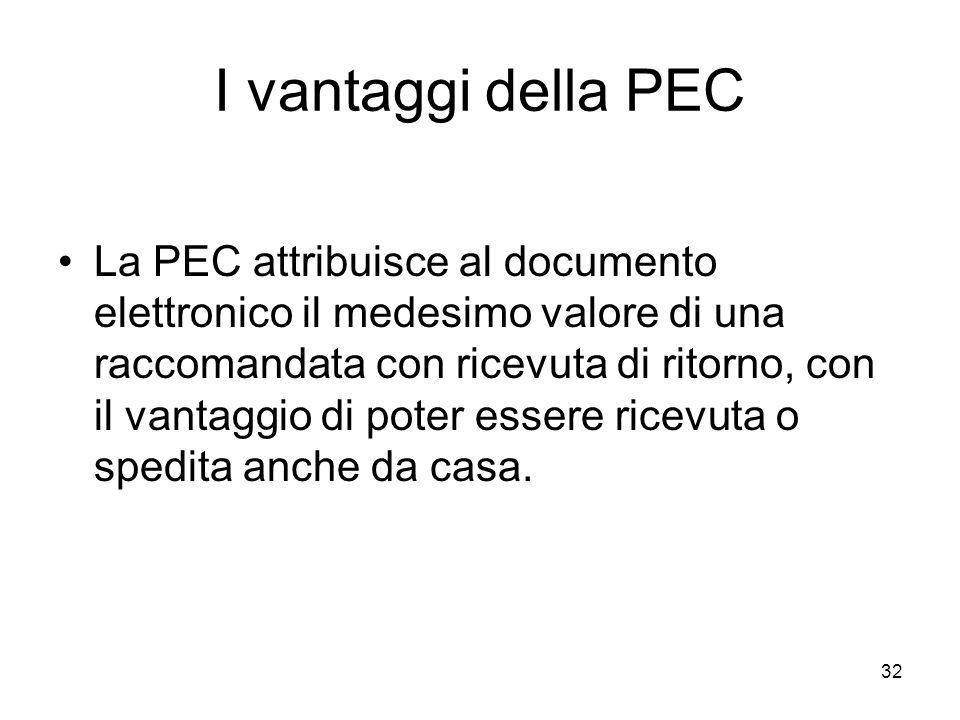 32 I vantaggi della PEC La PEC attribuisce al documento elettronico il medesimo valore di una raccomandata con ricevuta di ritorno, con il vantaggio d