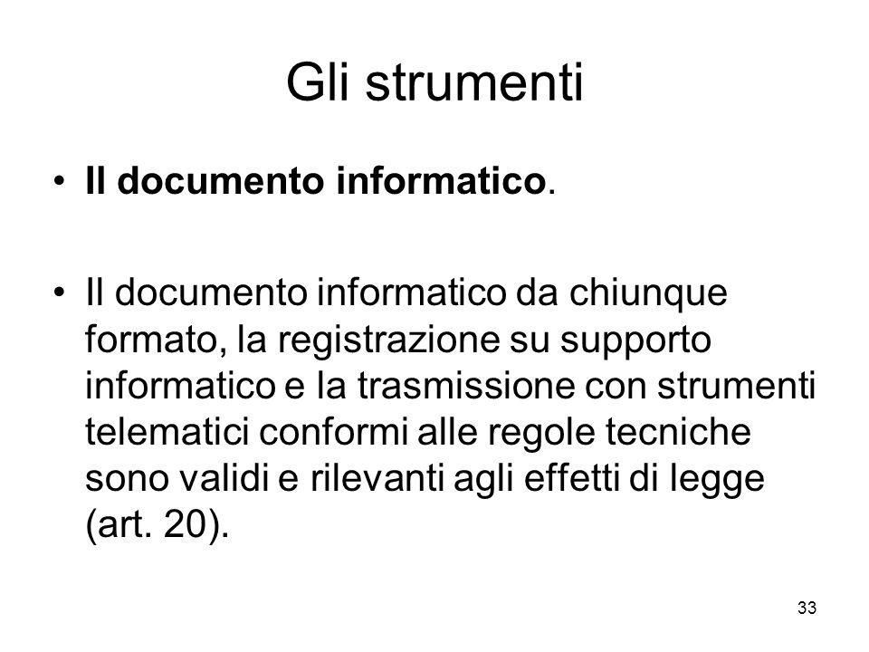 33 Gli strumenti Il documento informatico. Il documento informatico da chiunque formato, la registrazione su supporto informatico e la trasmissione co