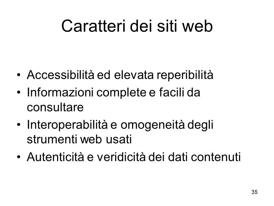 35 Caratteri dei siti web Accessibilità ed elevata reperibilità Informazioni complete e facili da consultare Interoperabilità e omogeneità degli strum