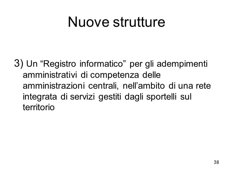 38 Nuove strutture 3) Un Registro informatico per gli adempimenti amministrativi di competenza delle amministrazioni centrali, nellambito di una rete