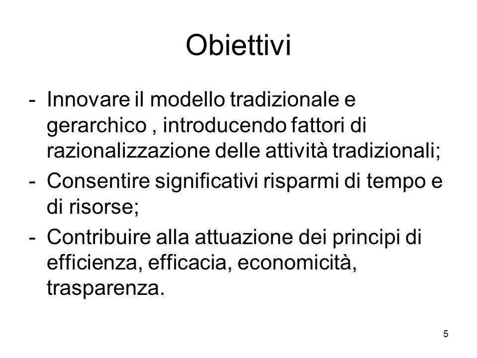 5 Obiettivi -Innovare il modello tradizionale e gerarchico, introducendo fattori di razionalizzazione delle attività tradizionali; -Consentire signifi