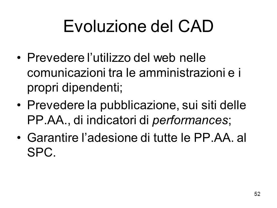 52 Evoluzione del CAD Prevedere lutilizzo del web nelle comunicazioni tra le amministrazioni e i propri dipendenti; Prevedere la pubblicazione, sui si
